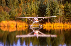 Alaska float plane moored at dock amid foliage reflections Stock Photos
