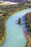 Alaska flyg- sikt av den Kenai floden i Soldotna Fotografering för Bildbyråer
