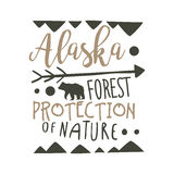 Alaska forest protection of nature design template, hand drawn vector Illustration Stock Photography