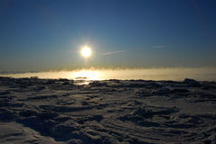 Alaska Frozen Landscape with Ice fog Stock Photo