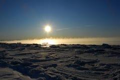 Alaska Frozen Landscape with Ice fog Stock Photo