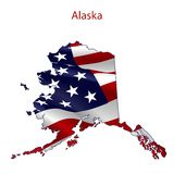 Alaska full of American flag. Waving in the wind. The outline of the state Stock Illustration