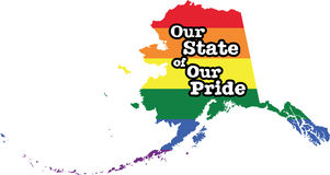 Alaska gay pride vector state sign. LGBT community pride vector U.S. state decal: easy-edit layered vector EPS10 file scalable to any size without quality loss stock illustration