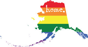 Alaska gay pride vector state sign. LGBT community pride vector U.S. state decal: easy-edit layered vector EPS10 file scalable to any size without quality loss vector illustration