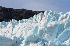 Alaska Glacier Field. Glacier with snow field in Alaska stock photo