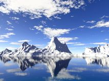 Alaska Glaciers With Water Reflection Stock Photo