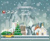 Alaska, glad jul och ett lyckligt nytt år! Royaltyfri Fotografi