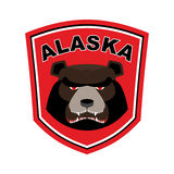 Alaska Grizzly mascot. Bear emblem sign. Wild animal logo for Al Royalty Free Stock Photography