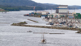 Alaska harbor entrance by boat Royalty Free Stock Images