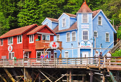 Alaska - het Winkelen Ketchikan van de Straat van de Kreek Royalty-vrije Stock Foto