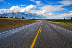 Alaska Highway. The Alaska highway stretches off into the distance in the Yukon Territories, Canada royalty free stock photography