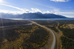 The Alaska Highway and Kluane Lake royalty free stock photos