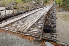 Alaska Highway River Wooden Bridge Royalty Free Stock Photo