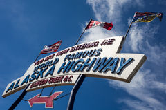 Alaska Highway. Signpost announcing the beginning of the highway Royalty Free Stock Image