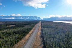 Alaska Highway in the spring royalty free stock photography