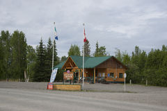 Alaska Highway Yukon Canada. Alaska Highway Beaver Creek Yukon Territory, Canada visitor information center building and sign Stock Image