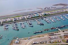 Alaska - homer mierzei małej łódki schronienia antena 2 obrazy stock