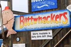 Alaska - Homer Spit Funny Fishing Charter Sign Stock Images
