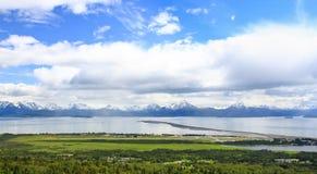 Alaska - Homer, the Spit and Kachemak Bay. A beautiful view of Homer Alaska, the Kenai Mountains, Kachemak Bay and the world famous Homer Spit from the overlook Royalty Free Stock Images