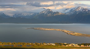 Alaska - Homer Spit Sunset. A beautiful view of Homer Alaska, the Kenai Mountains, Kachemak Bay and the world famous Homer Spit from the overlook on East End royalty free stock photography