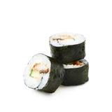Alaska hosomaki sushi isolated. Over the white background Stock Images