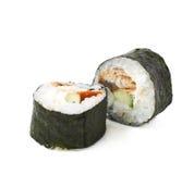 Alaska hosomaki sushi isolated. Over the white background Royalty Free Stock Image