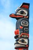 Alaska Huna Tlingit-Totempfahl-Kunst Stockfotos