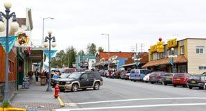 Alaska i stadens centrum Seward 4th St Arkivfoton
