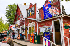 Alaska i stadens centrum Talkeetna lager, bar och lufttaxi Royaltyfri Foto