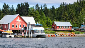 Alaska Icy Strait Point Busy Waterfront Stock Images
