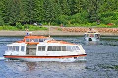 Alaska Icy Strait Point Cruise Ship Tender Boats Royalty Free Stock Photo