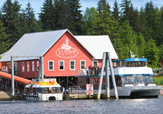 Alaska Icy Strait Point Tender Boat Dock Stock Photography