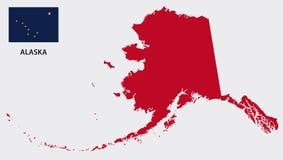Alaska-Karte mit Flagge lizenzfreies stockfoto