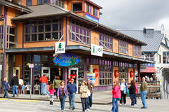 Alaska Ketchikan Christmas Shopping. A warm, sunny late afternoon view of the Ketchikan, Alaska waterfront and downtown tourism and shopping district Royalty Free Stock Photos