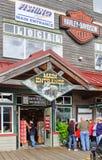 Alaska Ketchikan Harley Davidson shoppar Arkivbilder