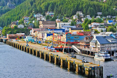 Alaska Ketchikan Waterfront Late Afternoon Sunlight Stock Image
