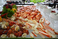 Alaska King Crab, Seafood buffet line in hotel. Royalty Free Stock Photo