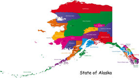 Alaska map. Colorful illustrated design of the map of Alaska (USA), including counties and county seats. Isolated against a white background stock illustration