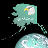 Alaska Map. Illustration of the state of Alaska with a bust of a bald eagle and an earth like planet in an aqua color vector illustration