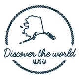 Alaska Map Outline. Vintage Discover the World. Alaska Map Outline. Vintage Discover the World Rubber Stamp with Alaska Map. Hipster Style Nautical Rubber Stamp stock illustration
