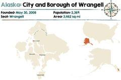 Alaska: Miasto i podgrodzie Wrangell ilustracja wektor