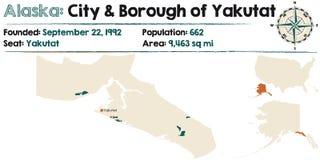 Alaska: Miasto i podgrodzie Yakutat Fotografia Stock