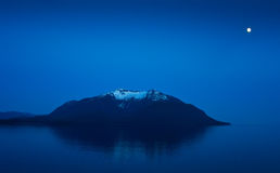 Alaska Mountain with Moon Glow Stock Photo