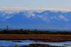 Alaska mountain range near Denali National Park Royalty Free Stock Images