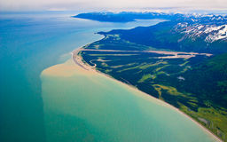 Alaska mountains and coastline (aerial view) ) Royalty Free Stock Photography