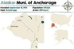 Alaska: Municipality of Anchorage. Large and detailed map of the Municipality of Anchorage in Alaska Stock Photos