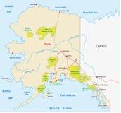Alaska national park map. National park map of the American state of Alaska Stock Images