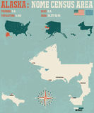 Alaska: Nome Census Area. Large and detailed map and infographic of Nome Census Area in Alaska stock illustration