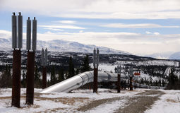 Alaska Oil Pipeline entering Isabel Pass Stock Photo