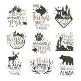 Alaska parka narodowego etykietki ustawiać Lasowej ochrony ręki rysować wektorowe ilustracje Obrazy Stock